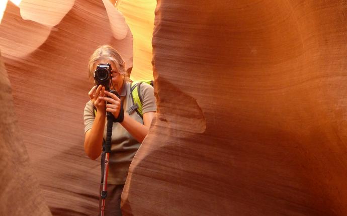 Sabine fotografiert im Antelope Canyon
