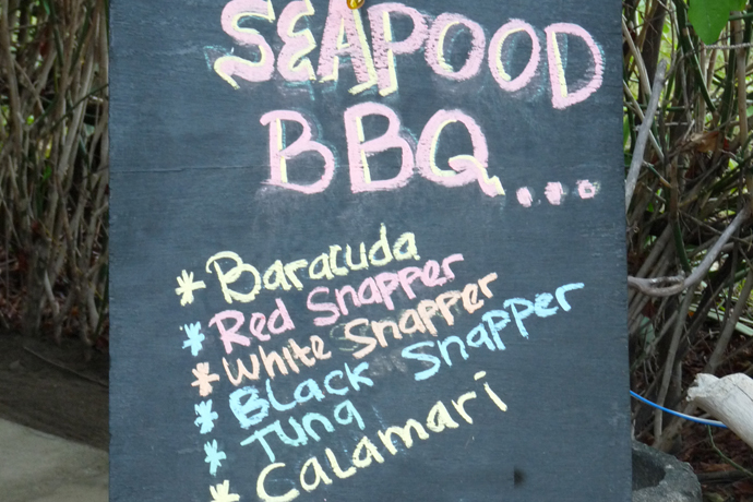 "Schild ""Seapood Barbecue"""