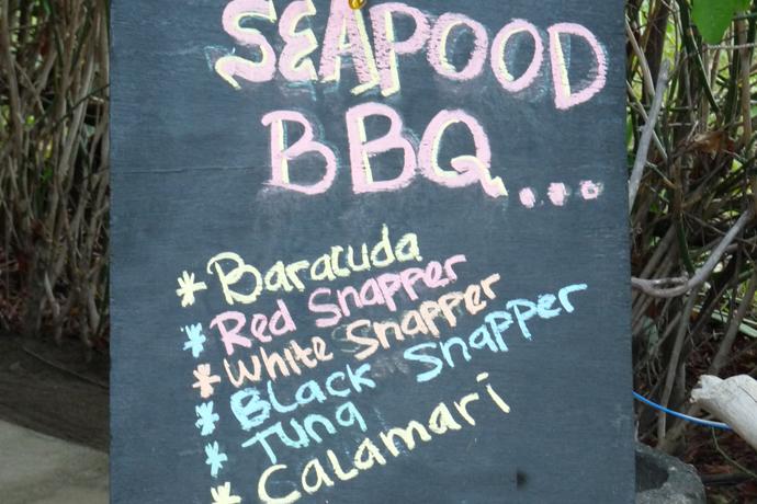 """Schild """"Seapood Barbecue"""""""