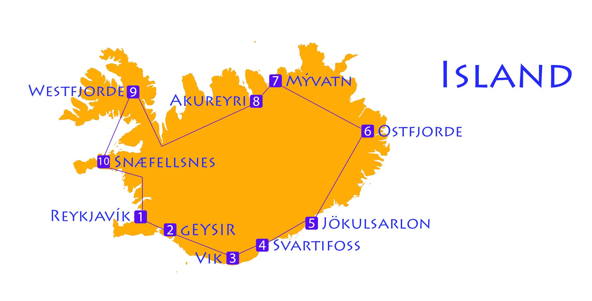 Karte von Route durch Island