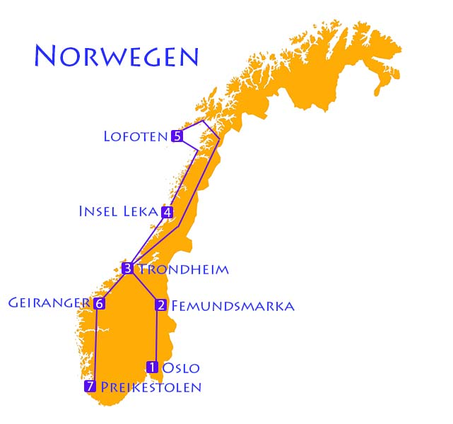 Karte von Norwegen mit Route