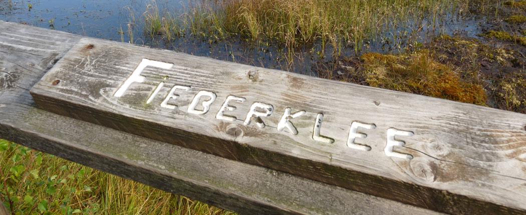 """Schild mit Aufschrift """"Fieberklee"""""""