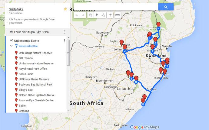 Karte für Reiseplanung Südafrika
