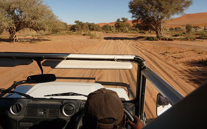 Shuttle-Service am Sossusvlei, Namibia
