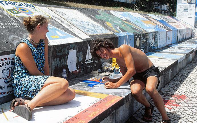 Azoren Mauermaler in Horta