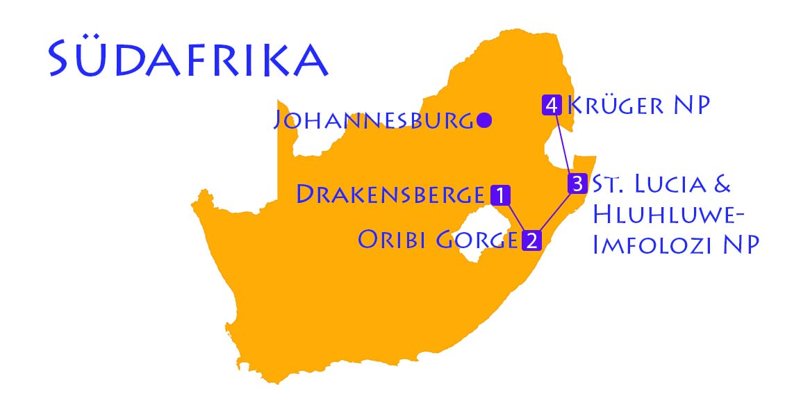 Karte Südafrika mit Route