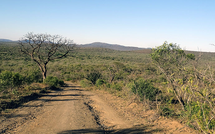 Eine Staubstraße in Südafrika
