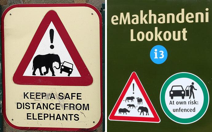 Schilder in Südafrika: Elefant kippt Auto um. Aussteigen auf eigene Gefahr.