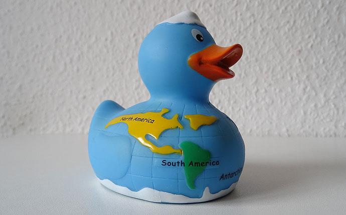 Ente mit Weltkarte