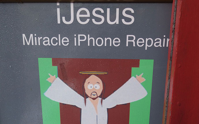 Schild: iJesus Miracle iPhone Repair