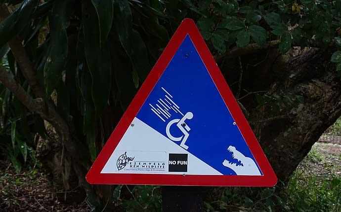 Schild: Rollstuhlfahrer rollt abwärts zu einem Krokodil