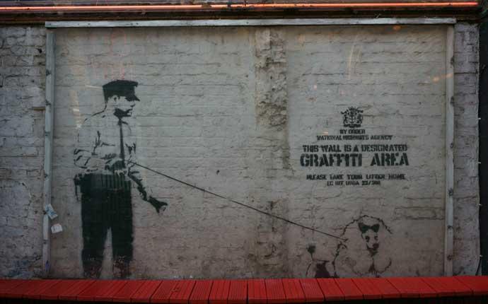 Reise nach London: Graffiti an der Wand