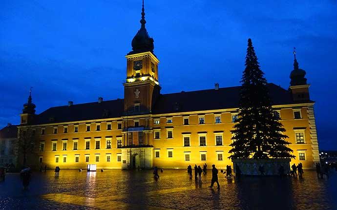 Warschau: Schloss bei Nacht