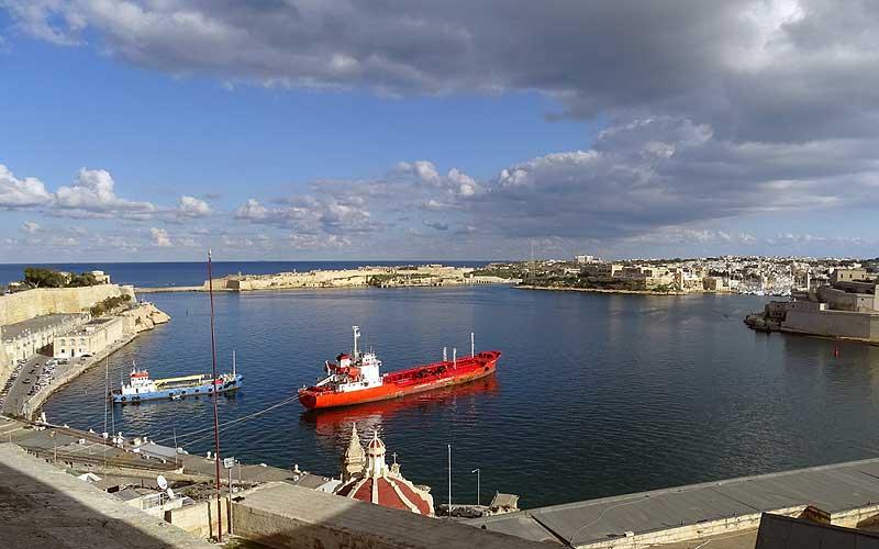Blick auf den Hafen von Valletta auf Malta