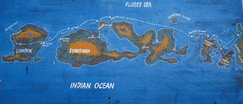 Karte von Inseln in Indonesien