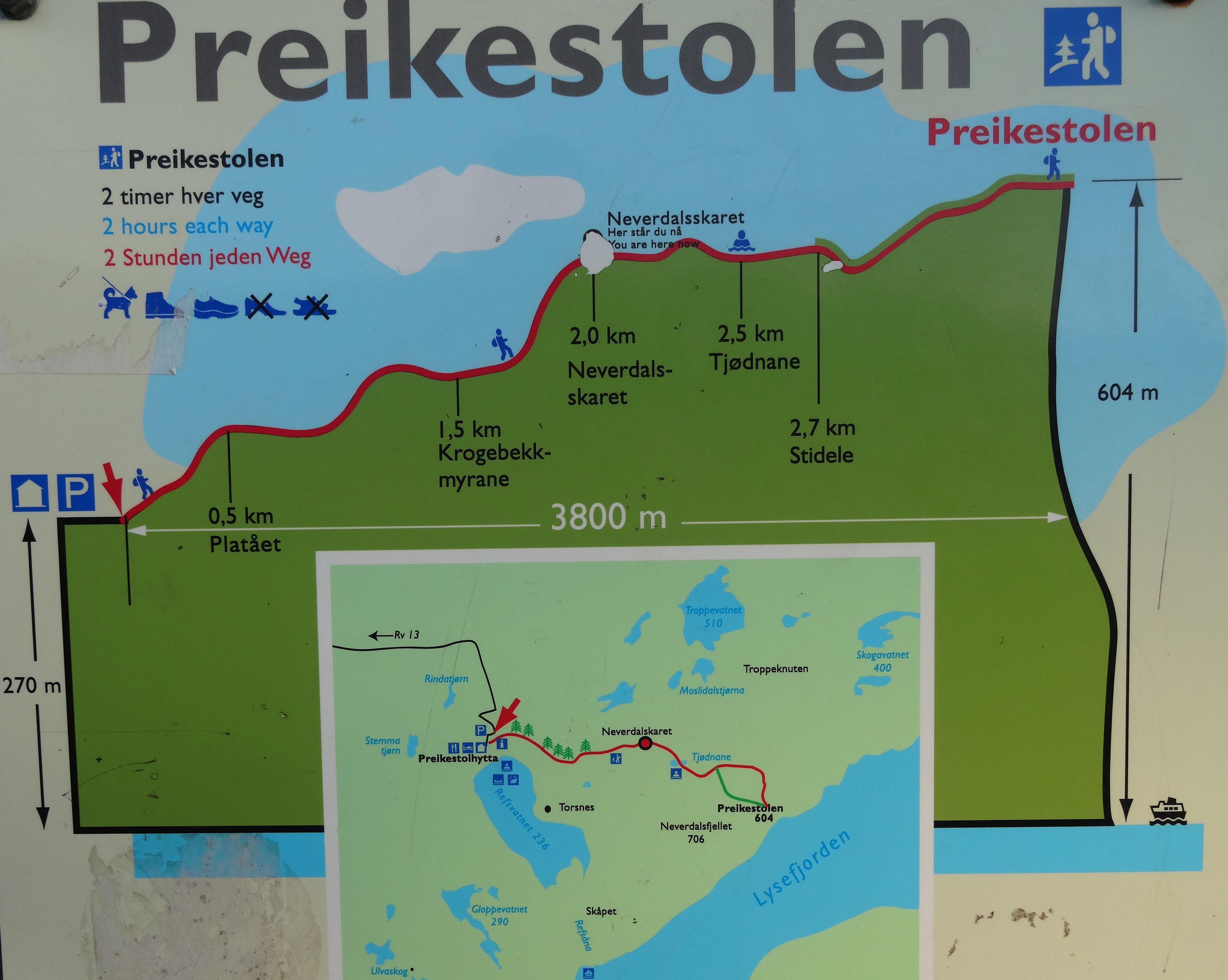Landkarte für die Wanderung zum Preikestolen