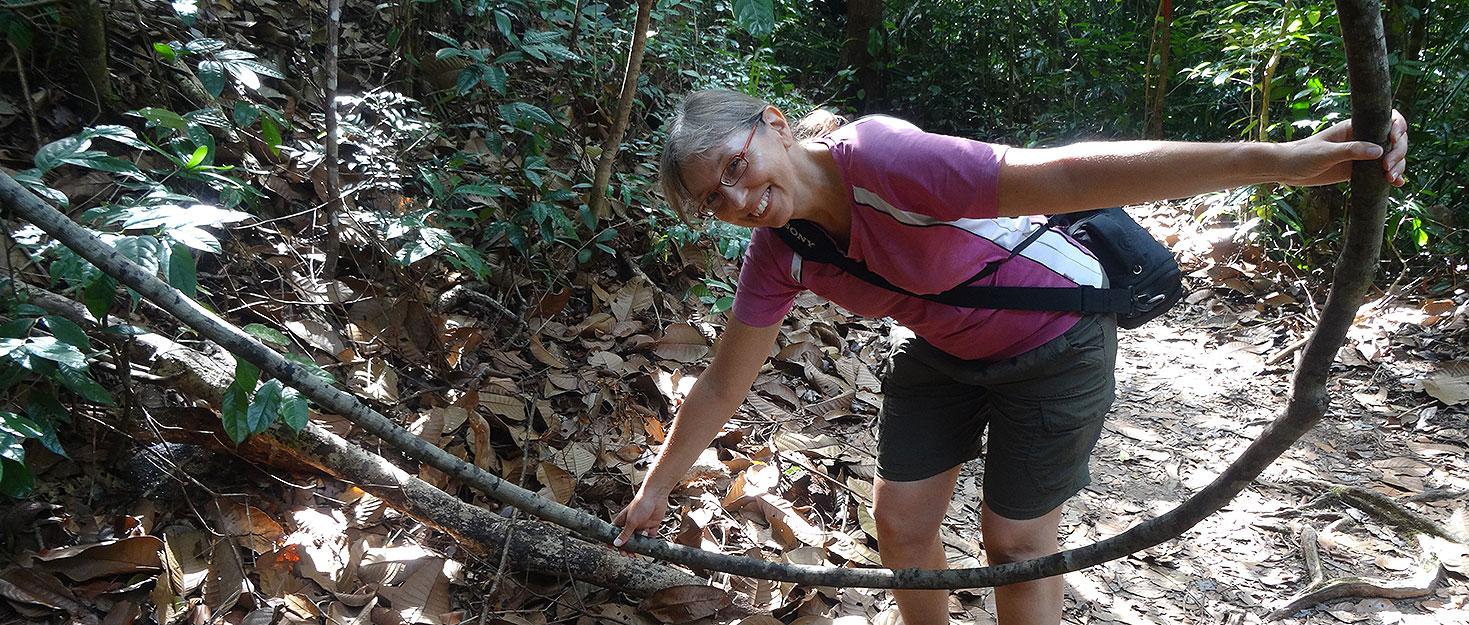 Sabine mit Liane im Dschungel von Bako auf Borneo