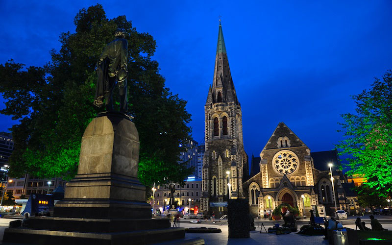 Kirche bei Nacht in Christchurch, Neuseeland