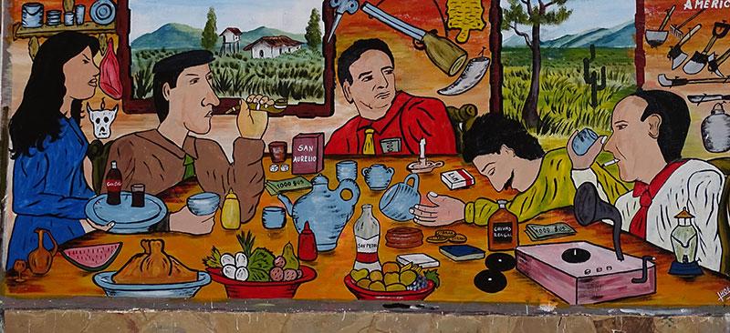 Bild mit essenden und trinkenden Menschen