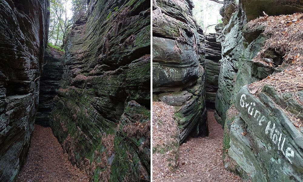 """Felsspalte und Eingang dazu mit Schriftzug """"Grüne Hölle"""""""