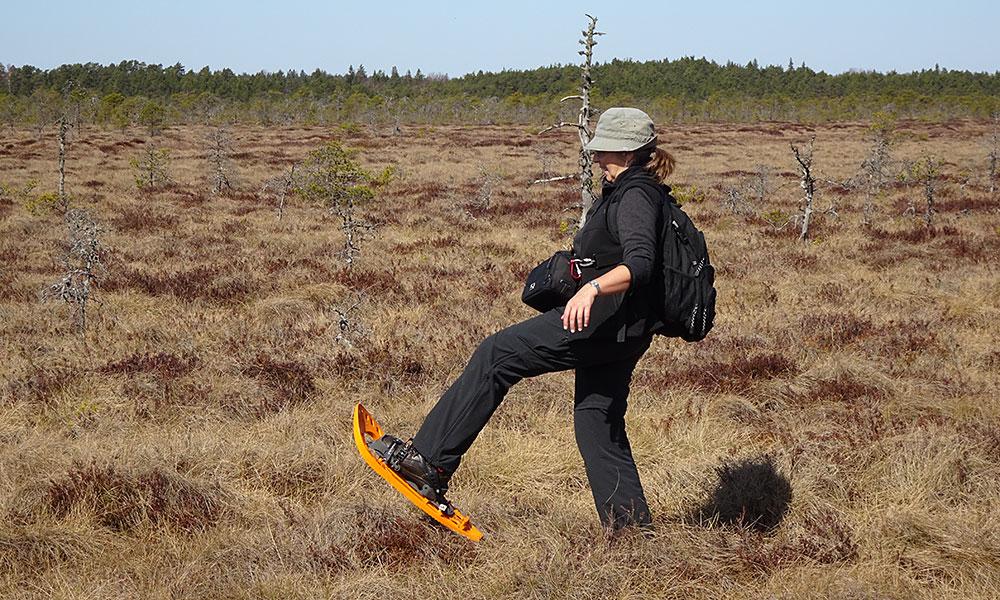 Frau läuft beschwerlich durchs Moor