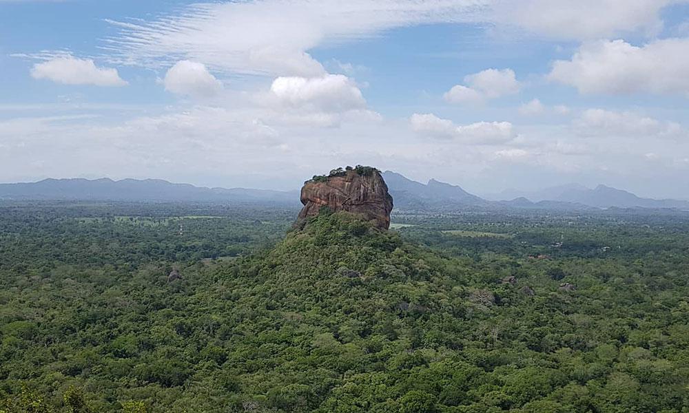 Felsen ragt aus dem Regenwald auf.