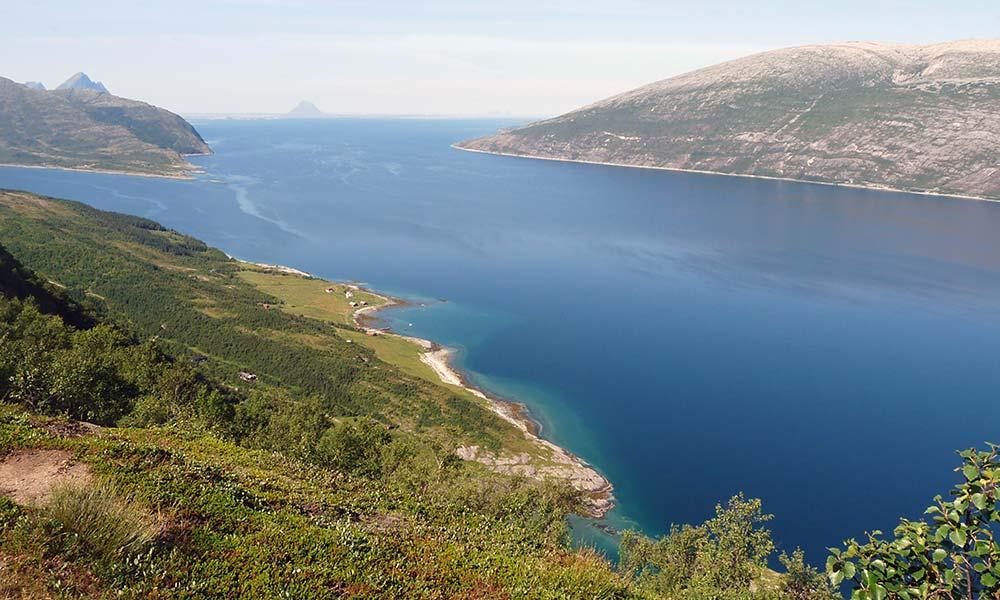 Blick vom Berg auf das Meer in Norwegen