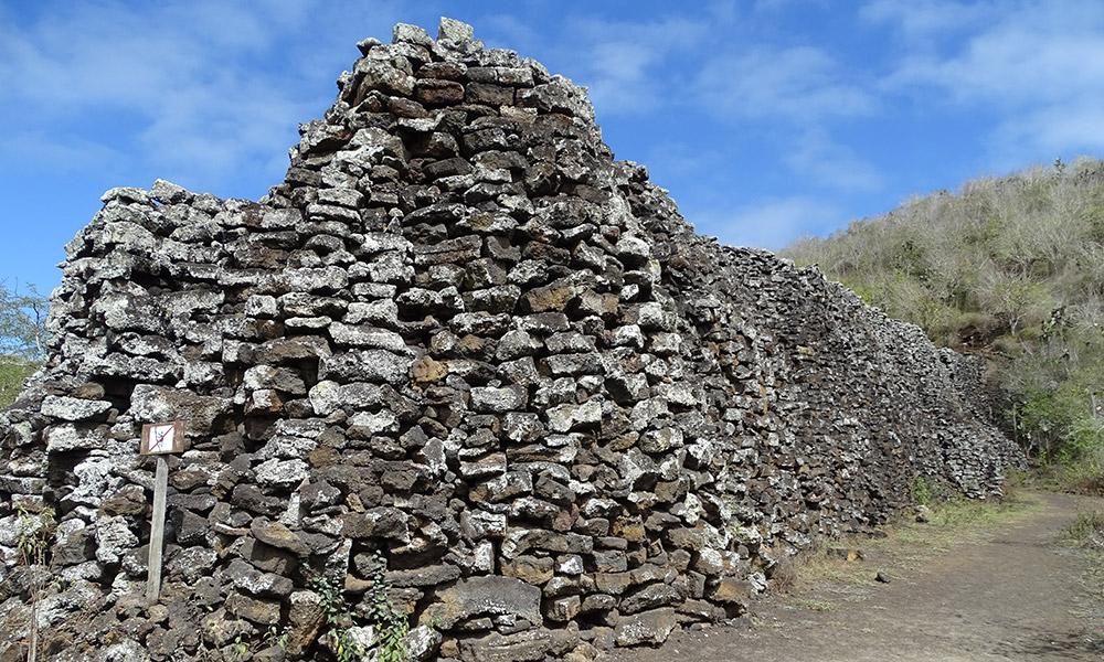 Steinmauer auf Isabela
