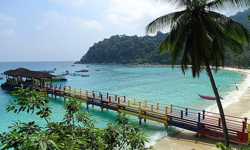Blick aufs Pier vom Perhentian Island Resort.