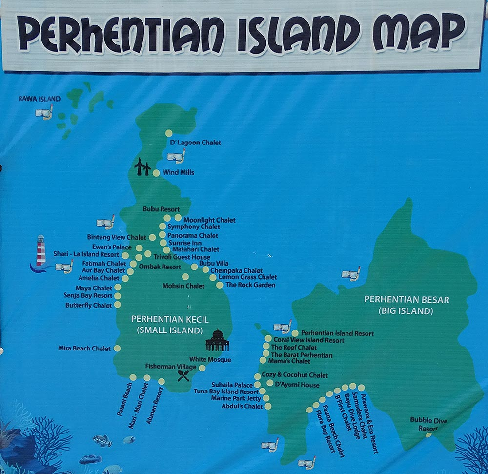 Karte der Perhentian Islands