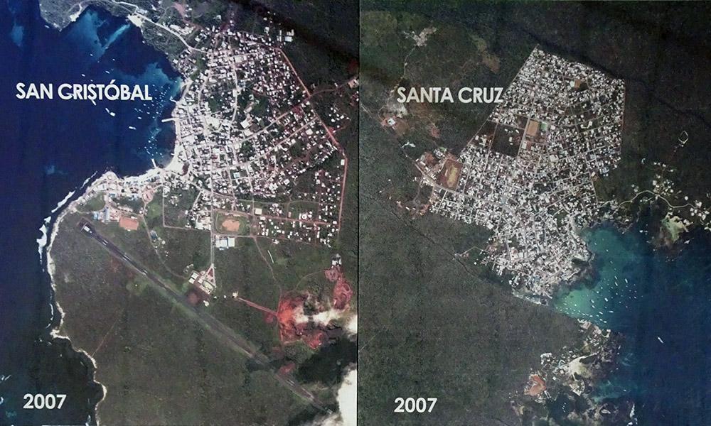 Satellitenkarten von Santa Cruz und San Cristóbal