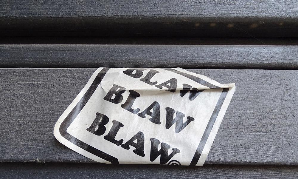 "Aufkleber ""Blaw, blaw, blaw"""