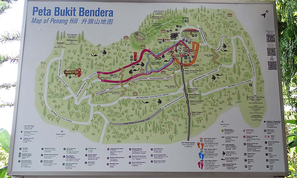 Karte von Wanderwegen am Penang Hill
