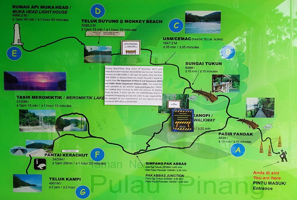 Karte mit Wanderwegen im Penang Nationalpark