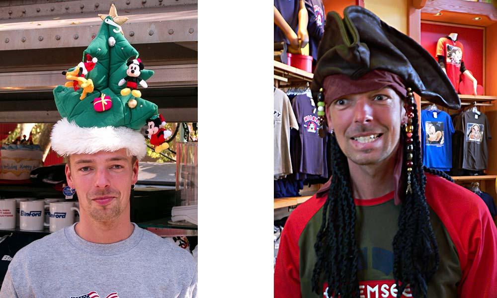 Mann mit Weihnachtsmannhut, Mann mit Piratenhut