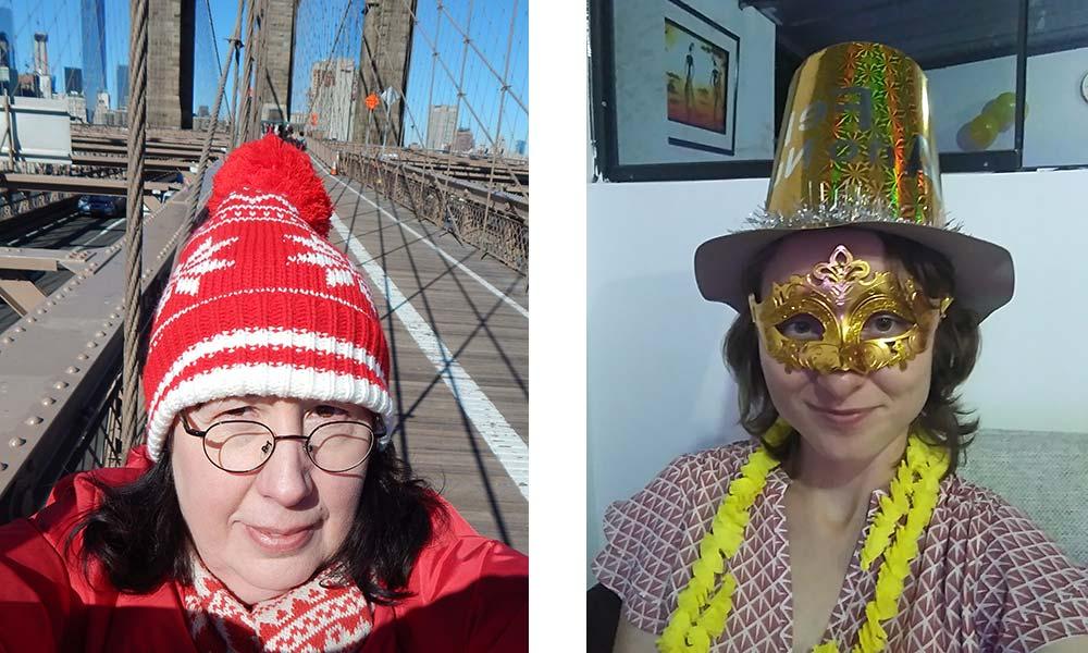 Frau mit roter Pudelmütze, Frau mit gelbem Hut