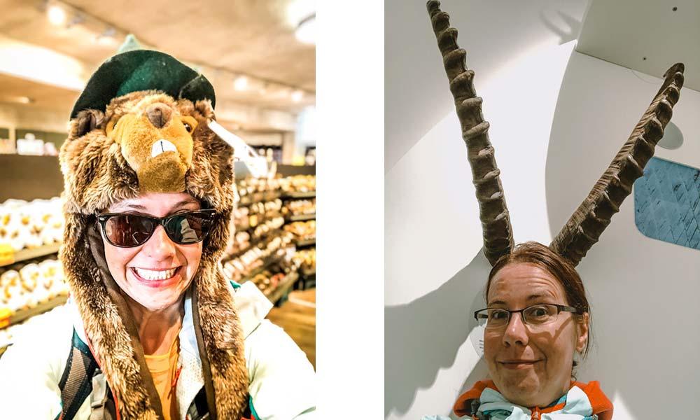 Frau mit Murmeltier-Mütze, Frau mit Steinbock-Mütze