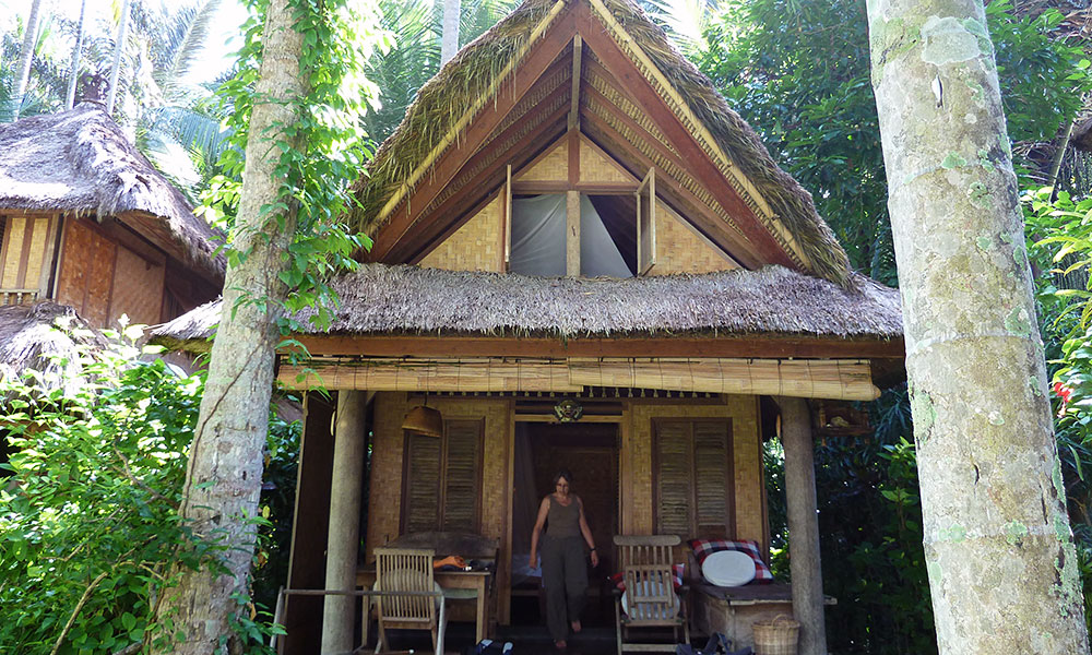 Bambushütte unter Kokospalmen