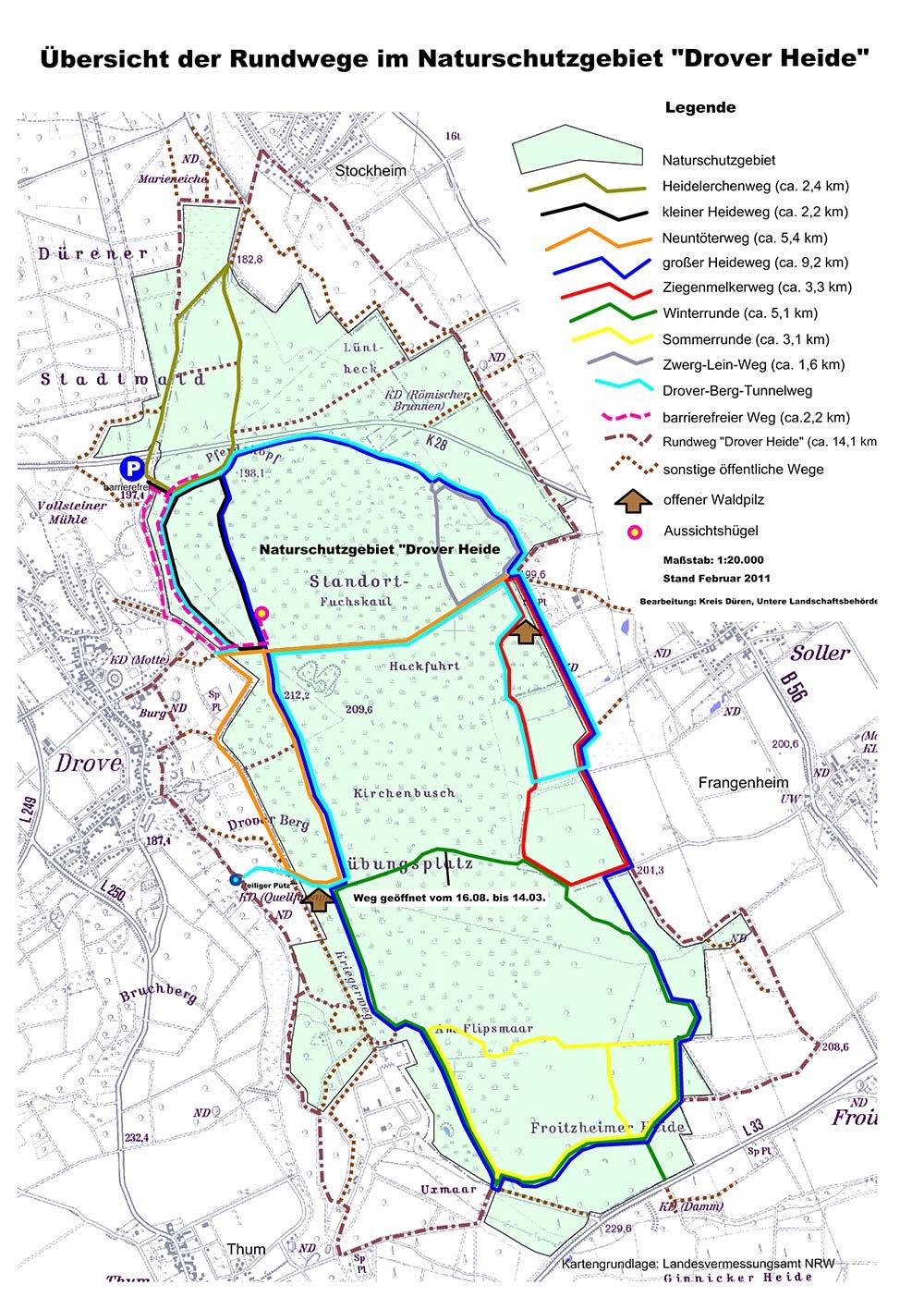 Karte Wanderwege Drover Heide
