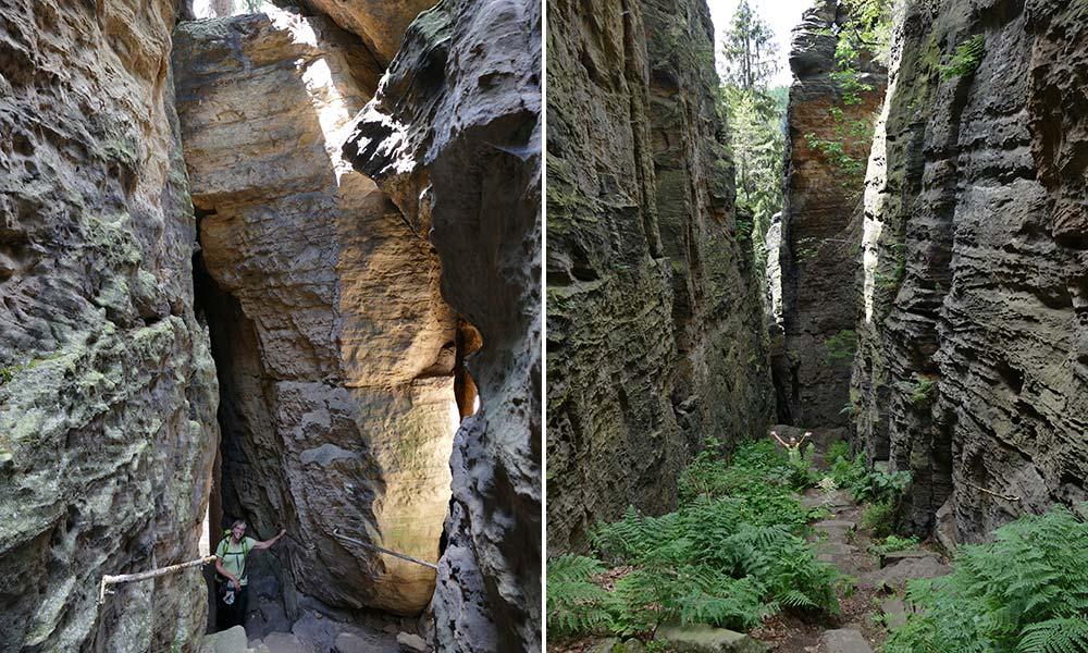 Enge Wege durch hohe Felsen bei Wanderung durch Sächsische Schweiz
