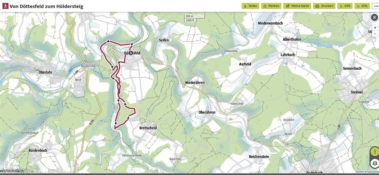Karte mit Wegstrecke