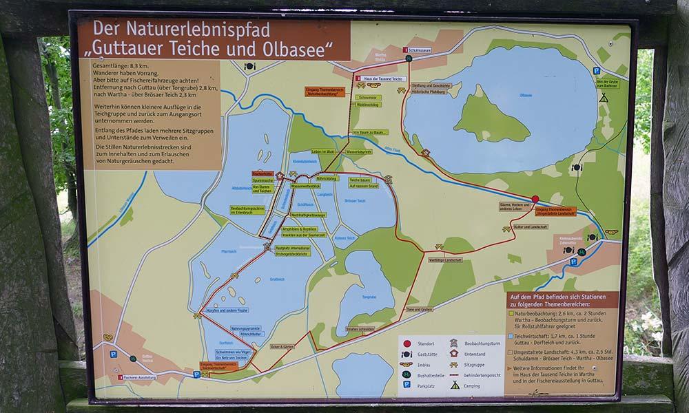 Karte mit Wanderwegen um die Guttauer Teiche und den Olbasee