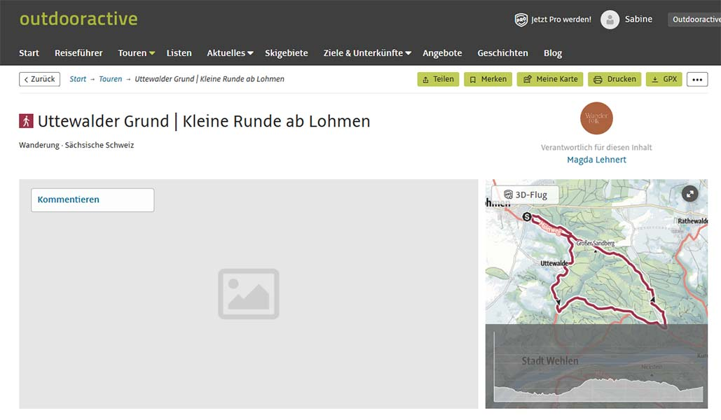 Screenshot der GPS-Tour