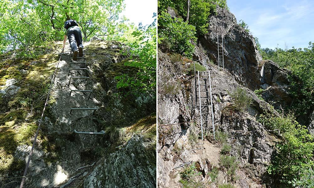 Mann auf Stiegen und Treppen am Berg