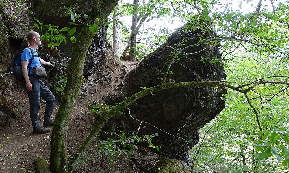 Weg mit Sicherungsseilen beim Wandern im Westerwald