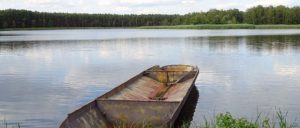 Boot am Teich im Biosphärenreservat Oberlausitzer Heide- und Teichlandschaft