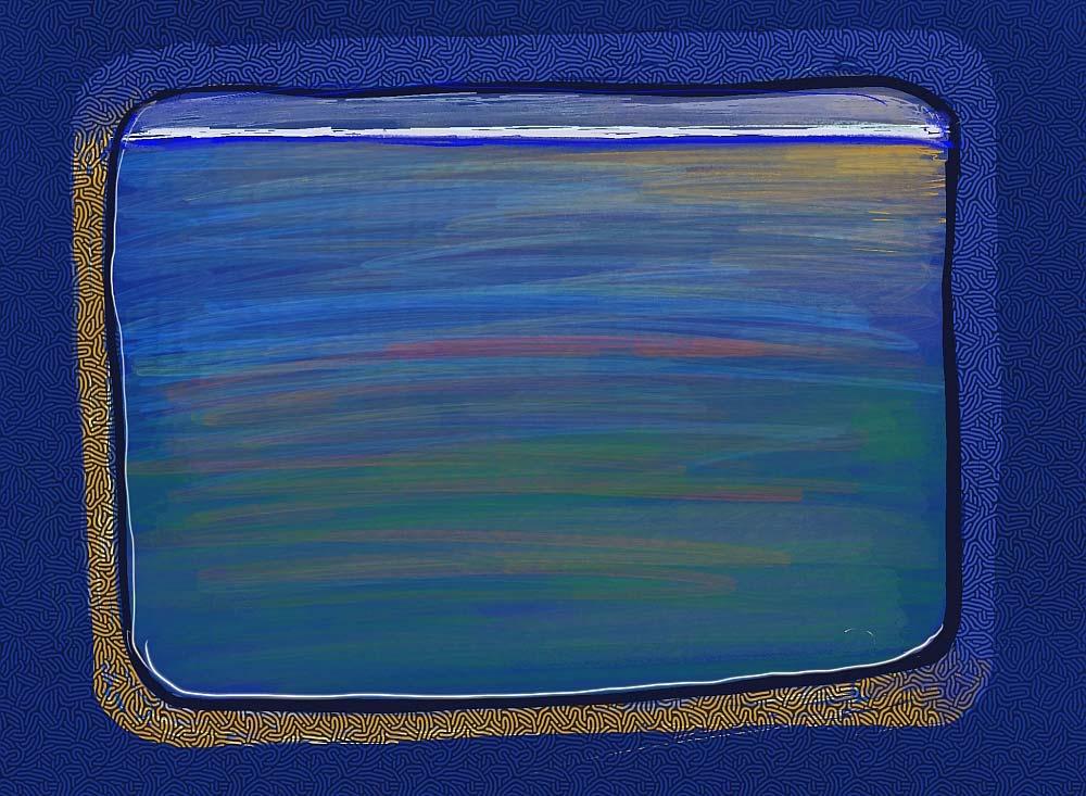 Zeichnung von blauem Fenster