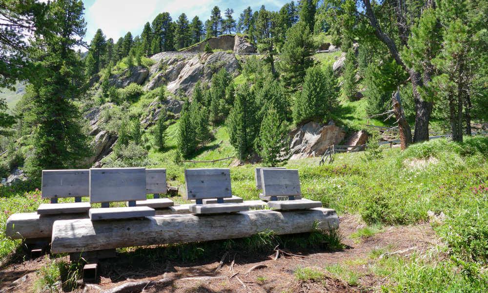 Reihe von hölzernen Sitzplätzen in der Natur